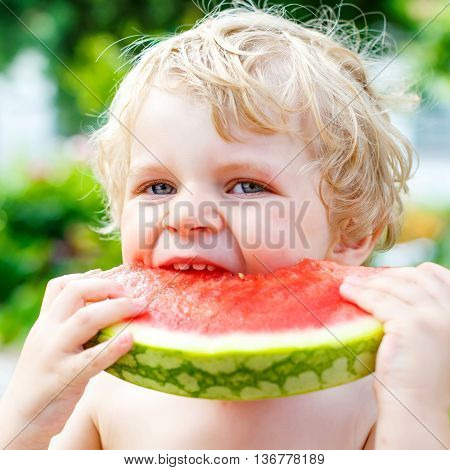 Funny little toddler boy with blond hairs eating watermelon in outdoor kindergarden. Kid tasting healthy snack. Healthy food for children.