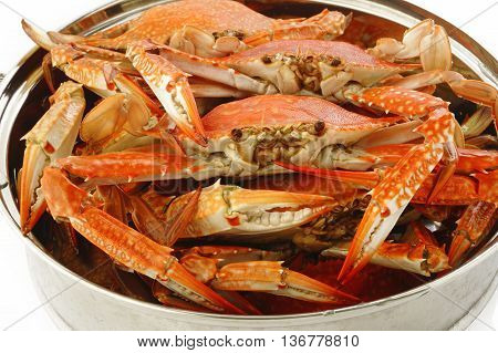 steamed crab in steaming pot on background