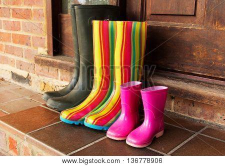 Colourful Wellington Boots Left On A Doorstep