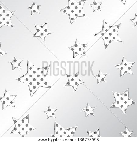 White pattern design with white stars on the polka-dot background. Eps vector file.