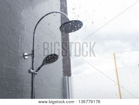 Close-up Image Water Drops Splash On Mirror, Design Of Home Interior Of Bathroom, Shower Head In Bat