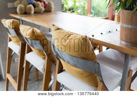 Bar Stool And Wooden Table Decorated In Living Room, Interior Of Cafe