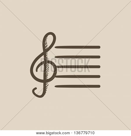 Treble clef vector sketch icon isolated on background. Hand drawn Treble clef icon. Treble clef sketch icon for infographic, website or app.
