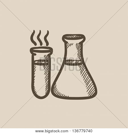 Laboratory equipment vector sketch icon isolated on background. Hand drawn Laboratory equipment icon. Laboratory equipment sketch icon for infographic, website or app.
