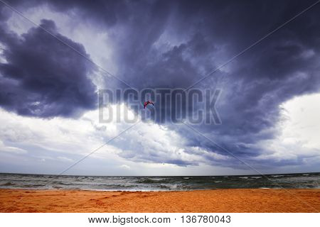 Power Kite In Sea And Storm Sky