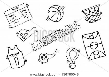 Simple Basketball Vector Elements. Basketball game icon, element for basketball play, basketball illustration.