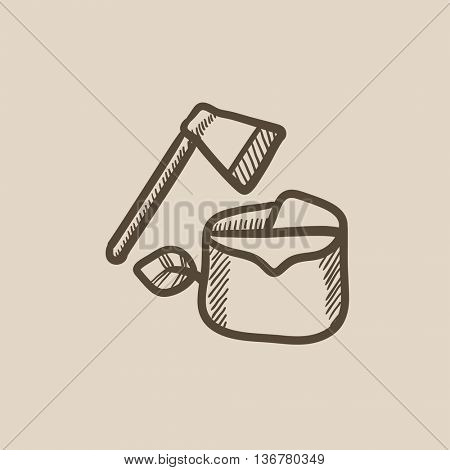 Deforestation vector sketch icon isolated on background. Hand drawn Deforestation icon. Deforestation sketch icon for infographic, website or app.