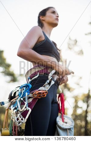 Close up of climbing equipment on a woman on the wood