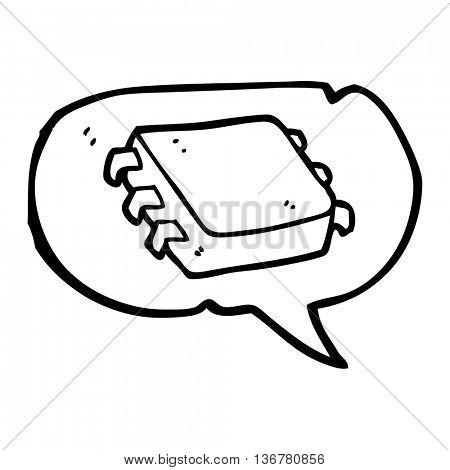 freehand drawn speech bubble cartoon computer chip