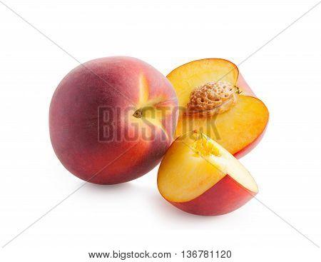 Peach. Fresh peaches isolated on white background. Peach in a cut