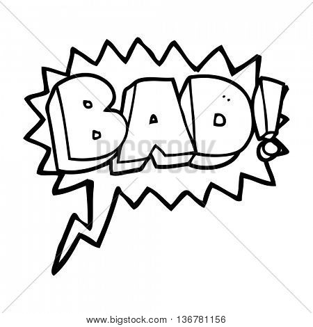 freehand drawn speech bubble cartoon Bad symbol