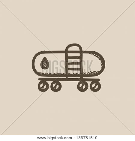Oil tank vector sketch icon isolated on background. Hand drawn Oil tank icon. Oil tank sketch icon for infographic, website or app.