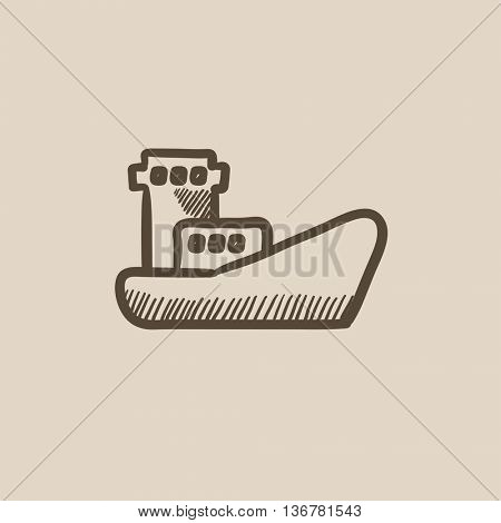 Cargo container ship vector sketch icon isolated on background. Hand drawn Cargo container ship icon. Cargo container ship sketch icon for infographic, website or app.