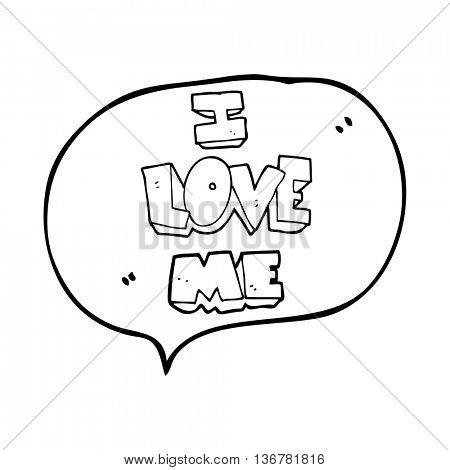 i love me freehand drawn speech bubble cartoon symbol