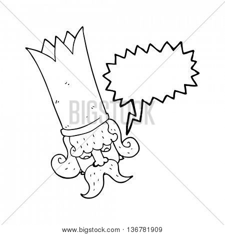 freehand drawn speech bubble cartoon king with huge crown