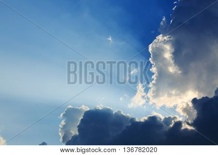 light rays on dramatic moody sky, natural background