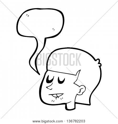 freehand drawn speech bubble cartoon man biting lip