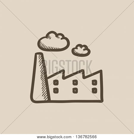 Factory vector sketch icon isolated on background. Hand drawn Factory icon. Factory sketch icon for infographic, website or app.