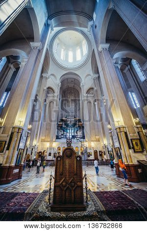 Tbilisi Georgia - July 18 2015. Interior of Holy Trinity Cathedral main cathedral of the Georgian Orthodox Church in Georgia