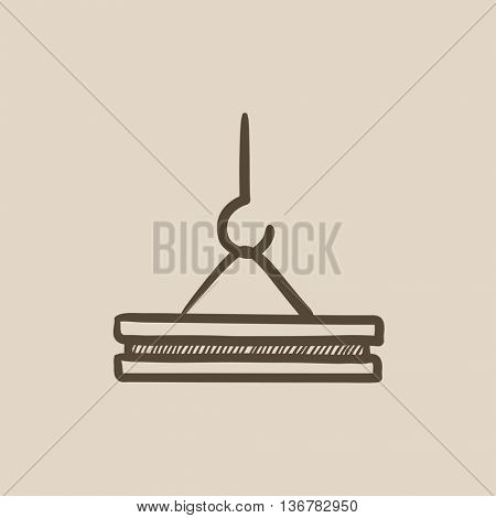 Crane hook vector sketch icon isolated on background. Hand drawn Crane hook icon. Crane hook sketch icon for infographic, website or app.