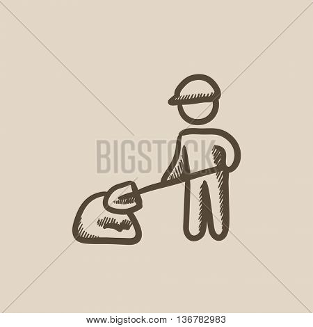 Man with shovel and hill of sand vector sketch icon isolated on background. Hand drawn Man with shovel and hill of sand icon. Man with shovel sketch icon for infographic, website or app.