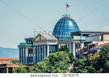 Tbilisi Georgia - July 18 2015. Presidential Administration of Georgia Palace located on the left bank of the Kura River in Tbilisi