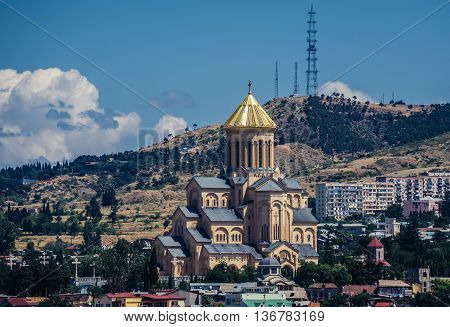 Tbilisi Georgia - July 18 2015. View of Holy Trinity Cathedral main cathedral of the Georgian Orthodox Church in Georgia
