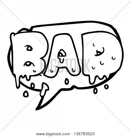 freehand drawn speech bubble cartoon word bad
