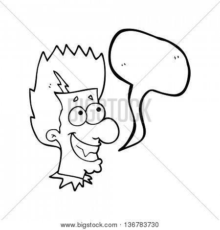 freehand drawn speech bubble cartoon grinning vampire