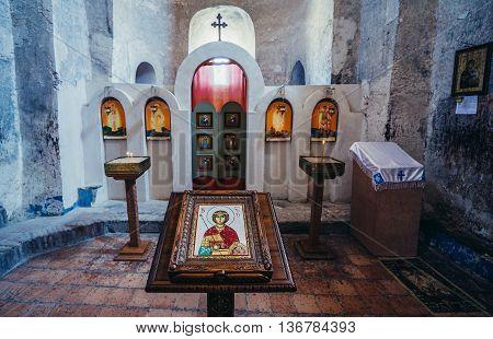 Uplistsikhe Georgia - July 21 2015. iconostasis in Christian Basilica in ancient rock-hewn town called Uplistsikhe in Georgia