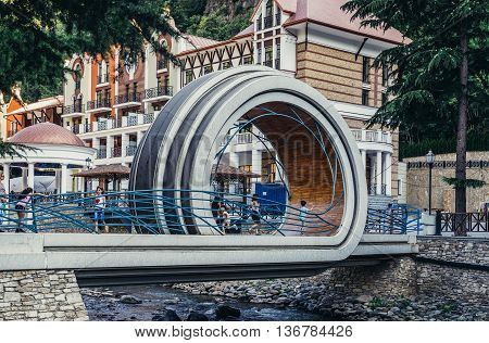 Borjomi Georgia - July 21 2015. New bridge over Borjomula River in Borjomi city