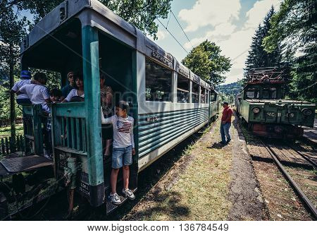 Georgia - July 22 2015. People travels Borjomi-Bakuriani narrow gauge railway known as
