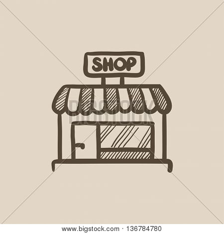 Shop store vector sketch icon isolated on background. Hand drawn Shop store icon. Shop store sketch icon for infographic, website or app.
