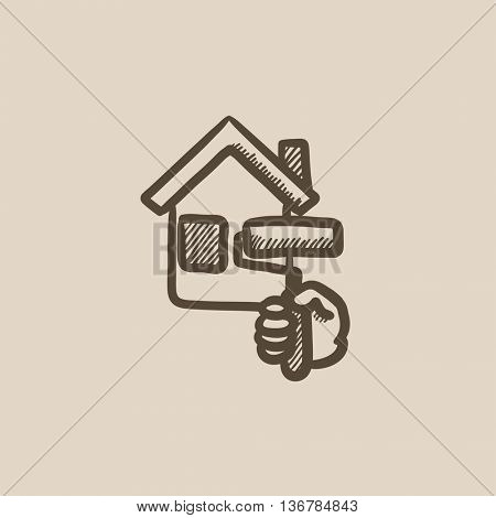 House painting vector sketch icon isolated on background. Hand drawn House painting icon. House painting sketch icon for infographic, website or app.