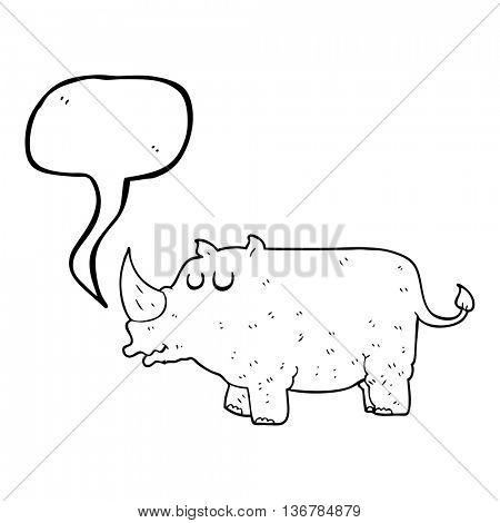 freehand drawn speech bubble cartoon rhino