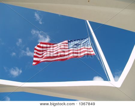 Flag Over The Arizona Memorial
