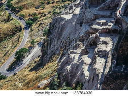 Samtskhe-Javakheti region Georgia - July 22 2015. View from Vardzia cave monastery site from 12th century in southern Georgia