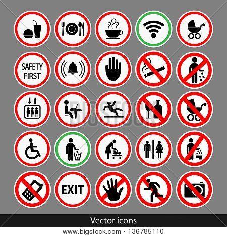 Vector public black icons set.  Stock illustration