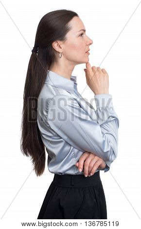 Side View Portrait Of Attractive Businesswoman Thinking