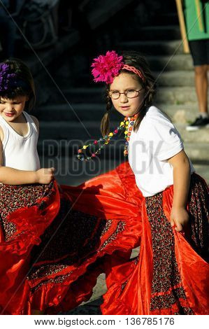Montenegro, Herceg Novi - 04/06/2016: Girls representing Roma. 10 International Children's Carnival