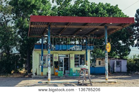 Georgia - July 25 2015. Old gas station with small shop in Georgia