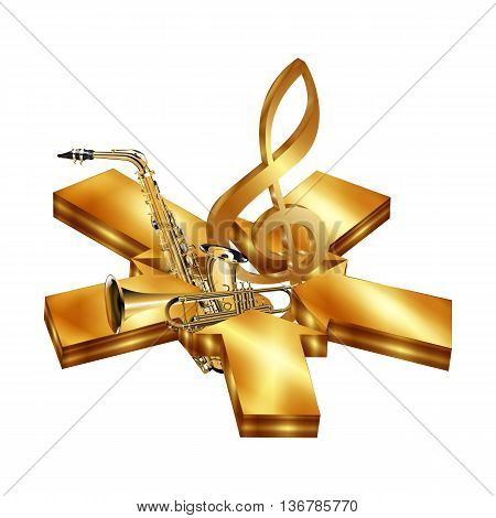 Vector illustration star of golden arrows with saxophone and trumpet. Isolated object on a white background can be used with any text or image.