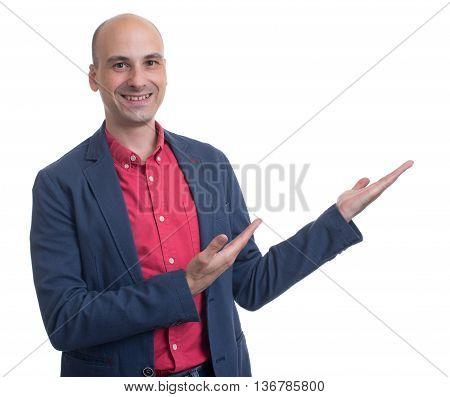 Handsome Bald Man Presenting Copy Space