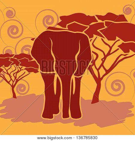 An Elephant in African savanna. Vector illustration