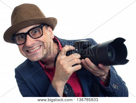 Bizarre Paparazzi With Camera Isolated