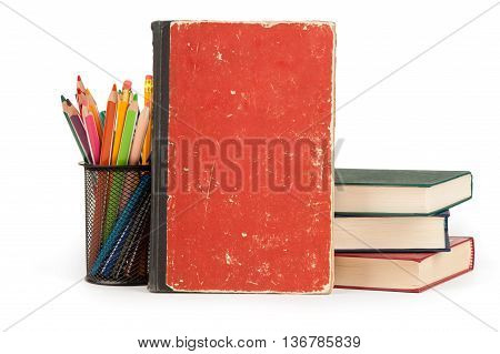 Books And Pencils On White Background