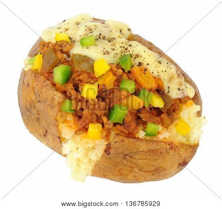 Minced beef and sweet pepper filled baked potato isolated on a white background