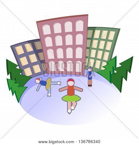 People go for skating . Vector illustration