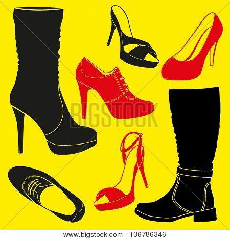 Different kinds of shoes . Vector illustration