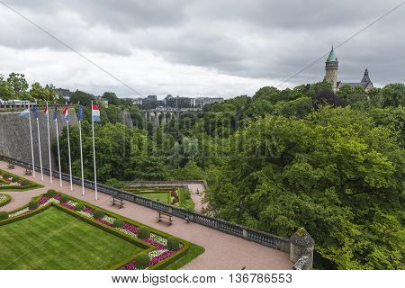 Luxembourg City - Luxembourg - July 01, 2016: Modern Part Of Luxembourg City In A Cloudy Day.